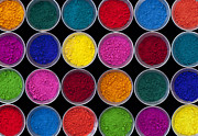 Festival Photo Posters - Pots of Coloured powder pattern Poster by Tim Gainey