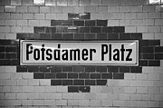 Bahn Photo Framed Prints - Potsdamer Platz Berlin U-bahn underground railway station name plate Germany Framed Print by Joe Fox