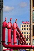 Red And Pink Sky Posters - Potsdamer Platz Pink Pipes In Berlin Poster by Ben and Raisa Gertsberg