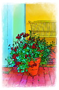 Building Digital Art Originals - Potted Geraniums Still Life by Harold Bonacquist