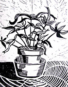 Block Print Drawings - Potted Plant by Linda Williams