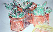 Cyprus Artists Drawings Prints - Potted Plants and Novel Print by Anita Dale Livaditis
