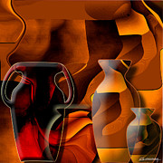 Still Digital Art - Pottery and vase 1 by Christian Simonian