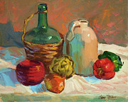 Wine Glasses Paintings - Pottery and Vegetables by Diane McClary