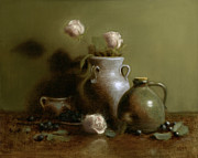 White Roses Paintings - Pottery Collection. by Christy Olsen