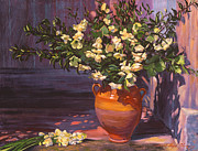 Outdoor Still Life Painting Prints - Pottery Flower Jug Print by David Lloyd Glover