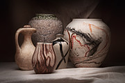 Earth Tone Art Metal Prints - Pottery Still Life Metal Print by Tom Mc Nemar
