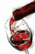 Pouring Wine Painting Framed Prints - Pouring red wine Framed Print by Georgi Dimitrov