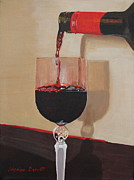 Pouring Wine Painting Prints - Pouring Wine Print by Marion Derrett