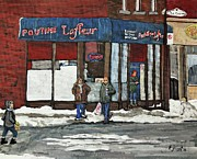 Verdun Restaurants Prints - Poutine Lafleur on Wellington Print by Reb Frost