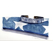 Red White Blue Paintings - P.O.W. Bracelet with Flag by Sheryl Heatherly Hawkins