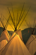 Tipis Posters - Pow Wow Camp at Sunrise Poster by Kae Cheatham