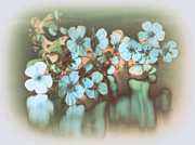 Vase Of Flowers Digital Art Prints - Powder Blue Print by Gail Girvan