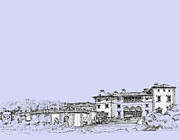 Miami Drawings - Powder blue Vizcaya museum  by Building  Art