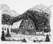 Barns Drawings Prints - Powderhorn Ranch Barn Print by Judy Sprague