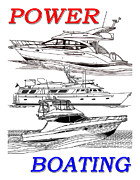Line Drawings Art - Power Boating Poster by Jack Pumphrey