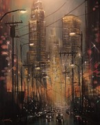 City At Night Paintings - Power Center by Tom Shropshire