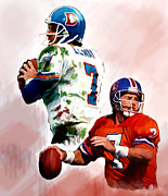 Denver Broncos Drawings Prints - Power Force John Elway Print by Iconic Images Art Gallery David Pucciarelli