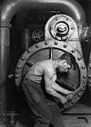 Sweating Photo Framed Prints - Power House Mechanic 1920 Framed Print by Mountain Dreams