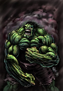 Incredible Hulk Framed Prints - Power Hulk Framed Print by David Bollt