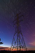 Gabor Pozsgai Metal Prints - Power line and star trails Metal Print by Gabor Pozsgai