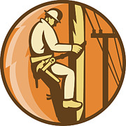 Tradesman Digital Art - Power Lineman Electrician Climbing Utility Post by Aloysius Patrimonio