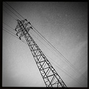 Hipstamatic Framed Prints - Power Lines Framed Print by Marco Oliveira
