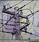 Block Print Drawings - Power Lines on Map by William Cauthern