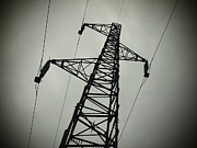 Electric Pylon Framed Prints - Power pole Framed Print by Bernard Jaubert