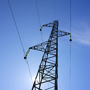 Low Angle Views Prints - Power pylon Print by Bernard Jaubert