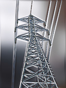 Electric Pylon Framed Prints - Power Station - Cool Framed Print by Wendy J St Christopher