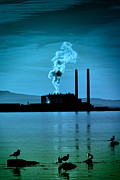 Chimneys Framed Prints - Power Station silhouette Framed Print by Craig Brown