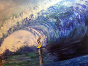 Phthalo Blue Paintings - Power Surfing by Ordy Duker