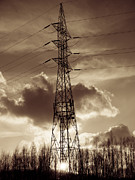 Wires Posters - Power Tower Sepia Poster by Wim Lanclus