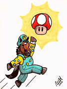 Super Mario Posters - Power Up Paynter Poster by Marcie Heacox