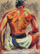 Unique Art Pastels Posters - Powerful Back of a Unique Man Poster by Asha Carolyn Young