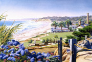 Beaches Posters - Powerhouse Beach Del Mar Blue Poster by Mary Helmreich