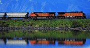 Burlington Northern Prints - Powering Across Print by Benjamin Yeager