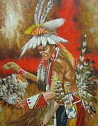 Cowboys And Indians Painting Framed Prints - Powwow Power Framed Print by Jeroem Vogschmidt