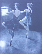 Ballet Dancers Drawings - Practice by Ceci Bahr
