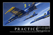 Airshow Flight Framed Prints - Practice Inspirational Quote Framed Print by Stocktrek Images