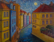 Prague Painting Framed Prints - Prague a la VanGogh Framed Print by Jo-Anne Gazo-McKim
