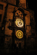 Orloj Posters - Prague Astronomical Clock at night Poster by Gregory Dyer