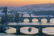 Karluv Most Prints - Prague Bridges at Sunset  Print by Robert Canis