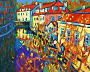 Prague Painting Framed Prints - Prague Canal Framed Print by Brian Simons