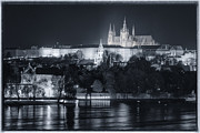 Prague Photo Posters - Prague Castle at Night Poster by Joan Carroll