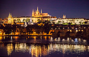Prague Painting Framed Prints - Prague Castle Night Reflections Framed Print by Jennifer Lycke