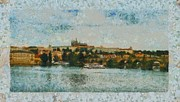 Charles Bridge Mixed Media Prints - Prague Castle over the river Print by Dana Hermanova