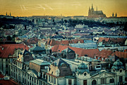 St Vitus Posters - Prague Castle Sunset Poster by Joan Carroll