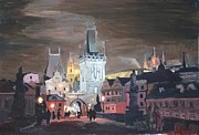 Charles Bridge Painting Metal Prints - Prague Charles Bridge - Karluv Most Metal Print by M Bleichner